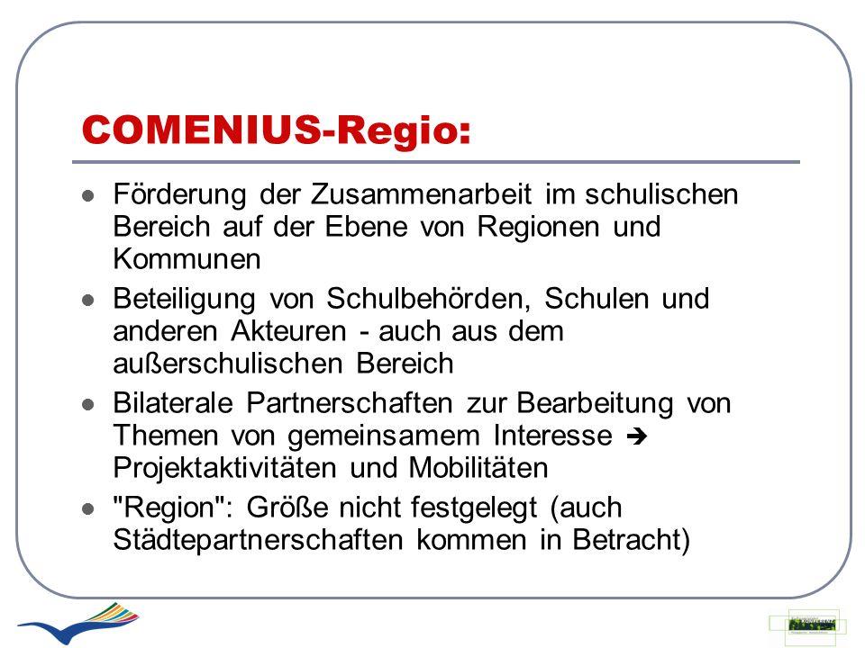 COMENIUS-Regio: Förderung der Zusammenarbeit im schulischen Bereich auf der Ebene von Regionen und Kommunen Beteiligung von Schulbehörden, Schulen und