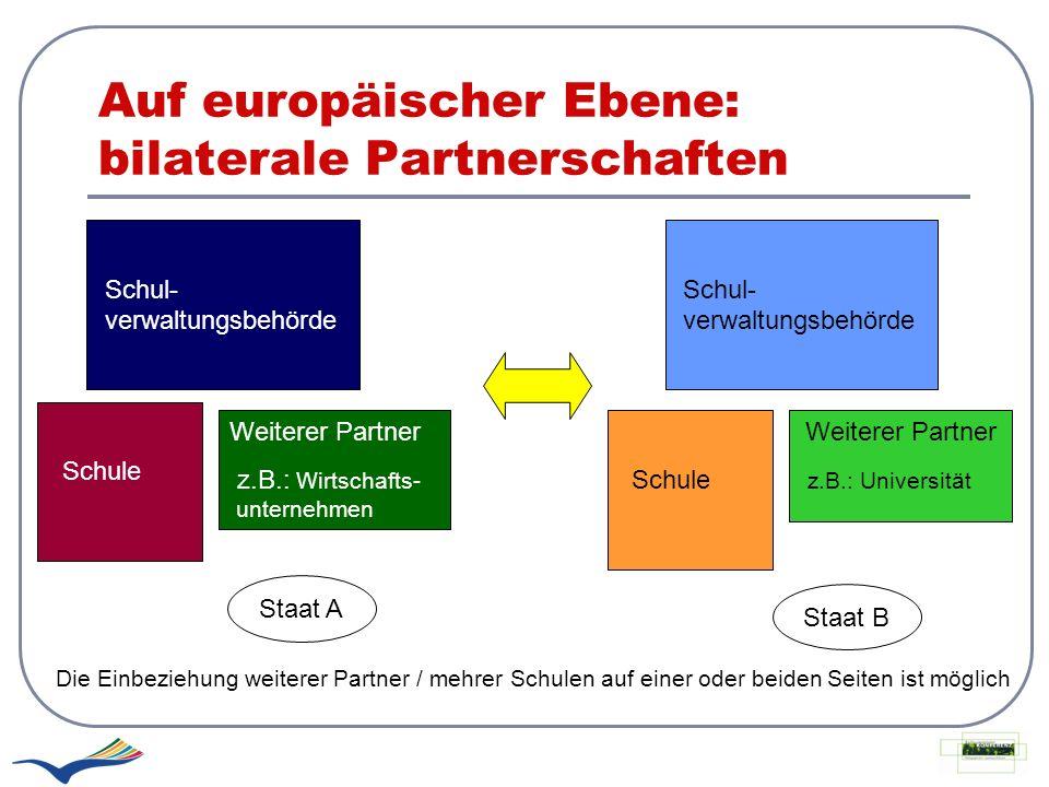 Auf europäischer Ebene: bilaterale Partnerschaften Schul- verwaltungsbehörde Schule Weiterer Partner z.B.: Wirtschafts- unternehmen Schul- verwaltungs
