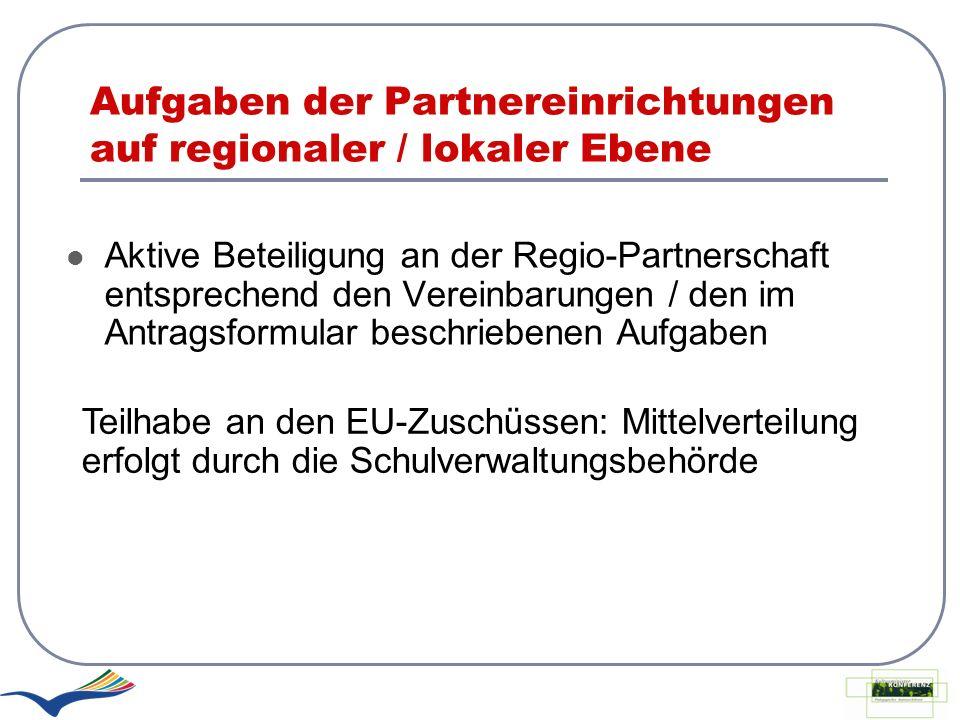 Aufgaben der Partnereinrichtungen auf regionaler / lokaler Ebene Aktive Beteiligung an der Regio-Partnerschaft entsprechend den Vereinbarungen / den i