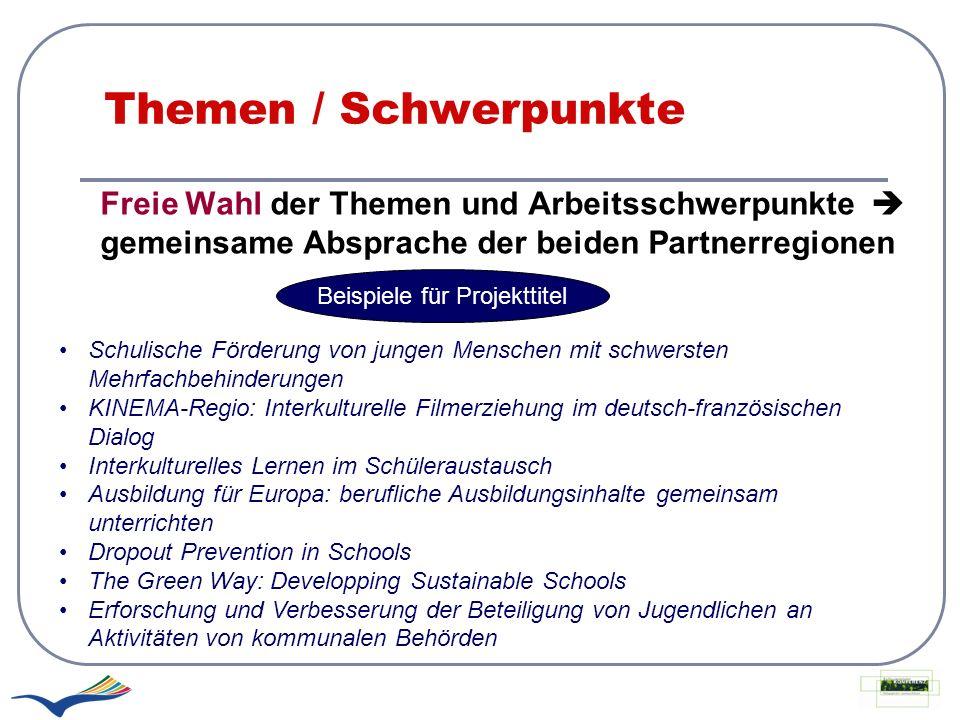 Themen / Schwerpunkte Freie Wahl der Themen und Arbeitsschwerpunkte gemeinsame Absprache der beiden Partnerregionen Beispiele für Projekttitel Schulis