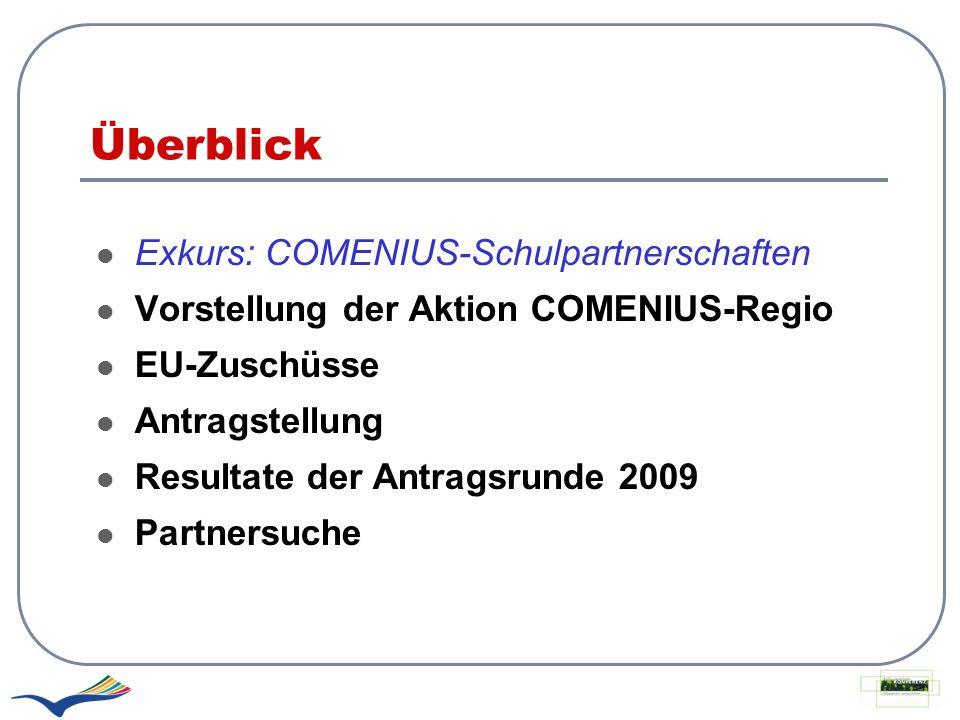 Überblick Exkurs: COMENIUS-Schulpartnerschaften Vorstellung der Aktion COMENIUS-Regio EU-Zuschüsse Antragstellung Resultate der Antragsrunde 2009 Part