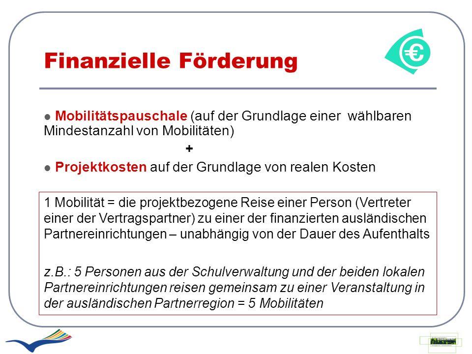 Finanzielle Förderung Mobilitätspauschale (auf der Grundlage einer wählbaren Mindestanzahl von Mobilitäten) + Projektkosten auf der Grundlage von real
