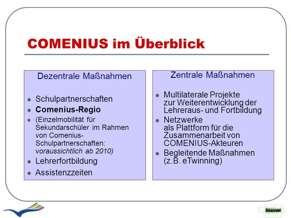 COMENIUS im Überblick Dezentrale Maßnahmen Schulpartnerschaften Comenius-Regio (Einzelmobilität für Sekundarschüler im Rahmen von Comenius- Schulpartn