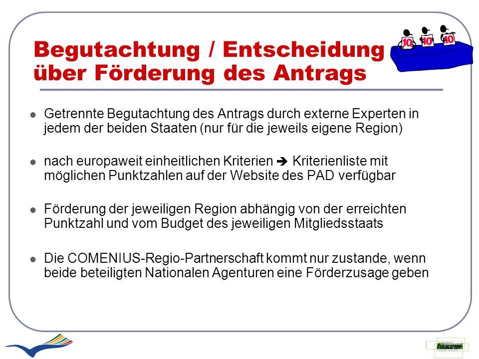 Begutachtung / Entscheidung über Förderung des Antrags Getrennte Begutachtung des Antrags durch externe Experten in jedem der beiden Staaten (nur für