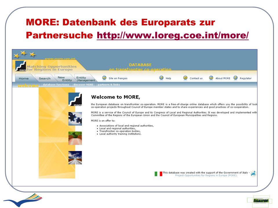 MORE: Datenbank des Europarats zur Partnersuche http://www.loreg.coe.int/more/http://www.loreg.coe.int/more/