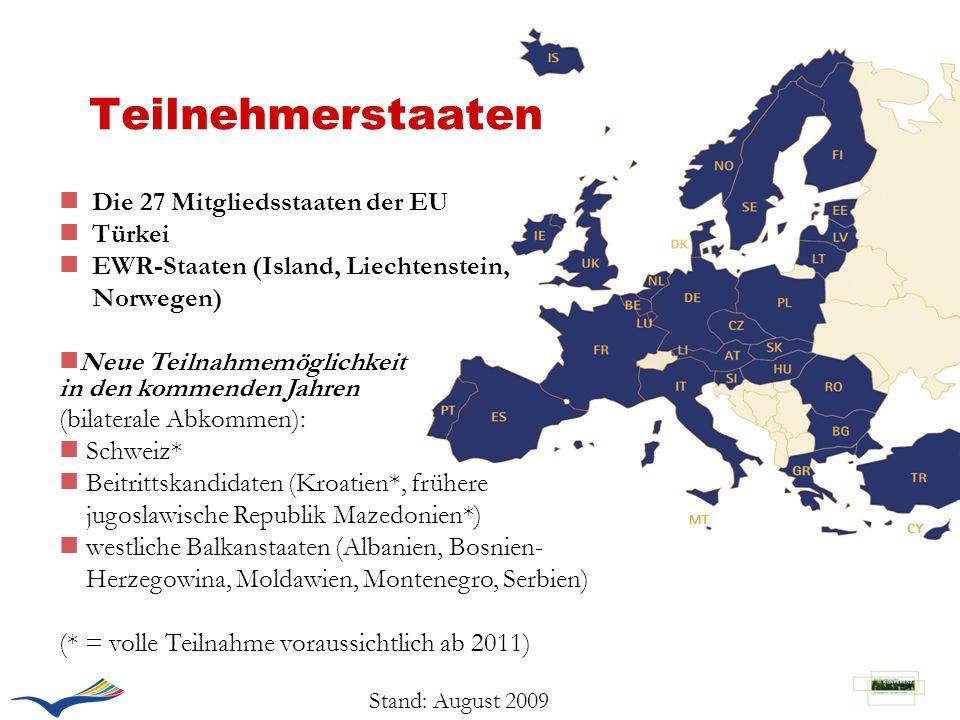 Teilnehmerstaaten n Die 27 Mitgliedsstaaten der EU n Türkei n EWR-Staaten (Island, Liechtenstein, Norwegen) nNeue Teilnahmemöglichkeit in den kommende