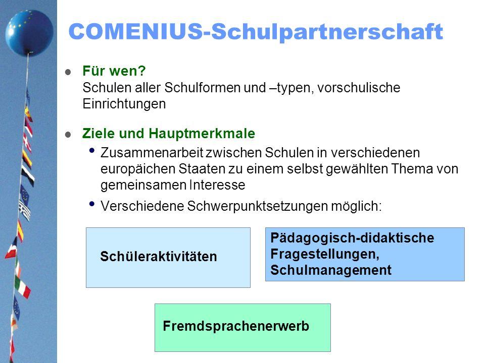 COMENIUS-Schulpartnerschaft Für wen? Schulen aller Schulformen und –typen, vorschulische Einrichtungen Ziele und Hauptmerkmale Zusammenarbeit zwischen