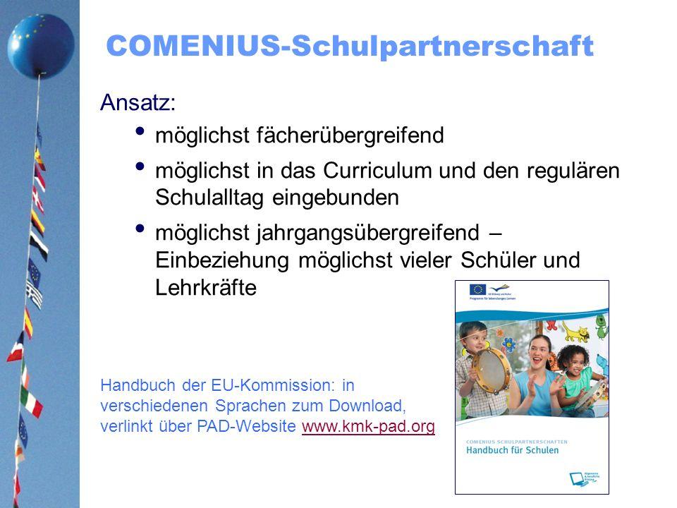 COMENIUS-Schulpartnerschaft Ansatz: möglichst fächerübergreifend möglichst in das Curriculum und den regulären Schulalltag eingebunden möglichst jahrg