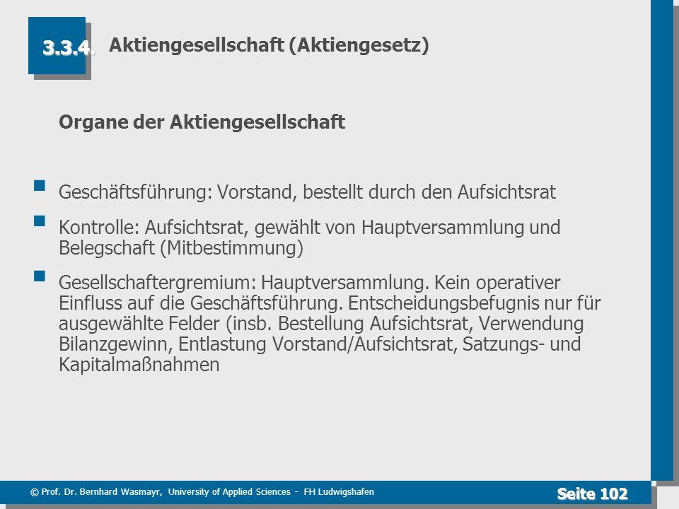 © Prof. Dr. Bernhard Wasmayr, University of Applied Sciences - FH Ludwigshafen Seite 102 Aktiengesellschaft (Aktiengesetz) Organe der Aktiengesellscha
