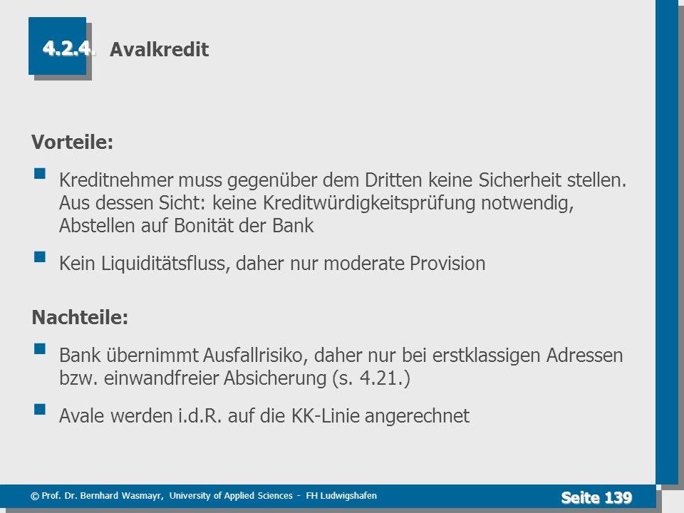 © Prof. Dr. Bernhard Wasmayr, University of Applied Sciences - FH Ludwigshafen Seite 139 Avalkredit Vorteile: Kreditnehmer muss gegenüber dem Dritten