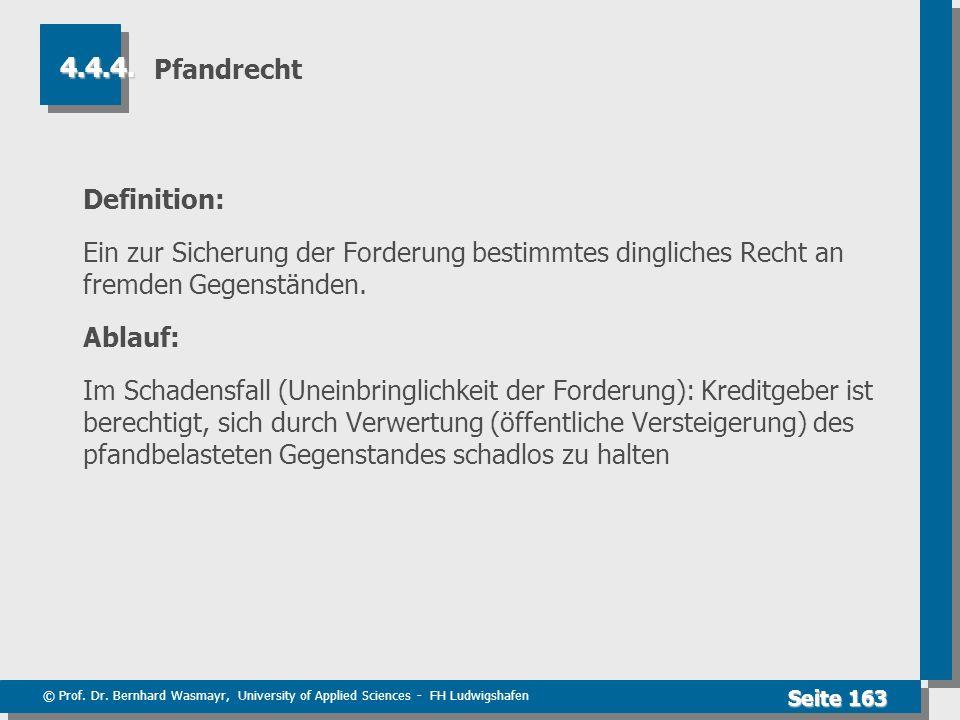 © Prof. Dr. Bernhard Wasmayr, University of Applied Sciences - FH Ludwigshafen Seite 163 Pfandrecht Definition: Ein zur Sicherung der Forderung bestim