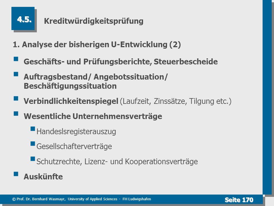 © Prof. Dr. Bernhard Wasmayr, University of Applied Sciences - FH Ludwigshafen Seite 170 Kreditwürdigkeitsprüfung 1. Analyse der bisherigen U-Entwickl