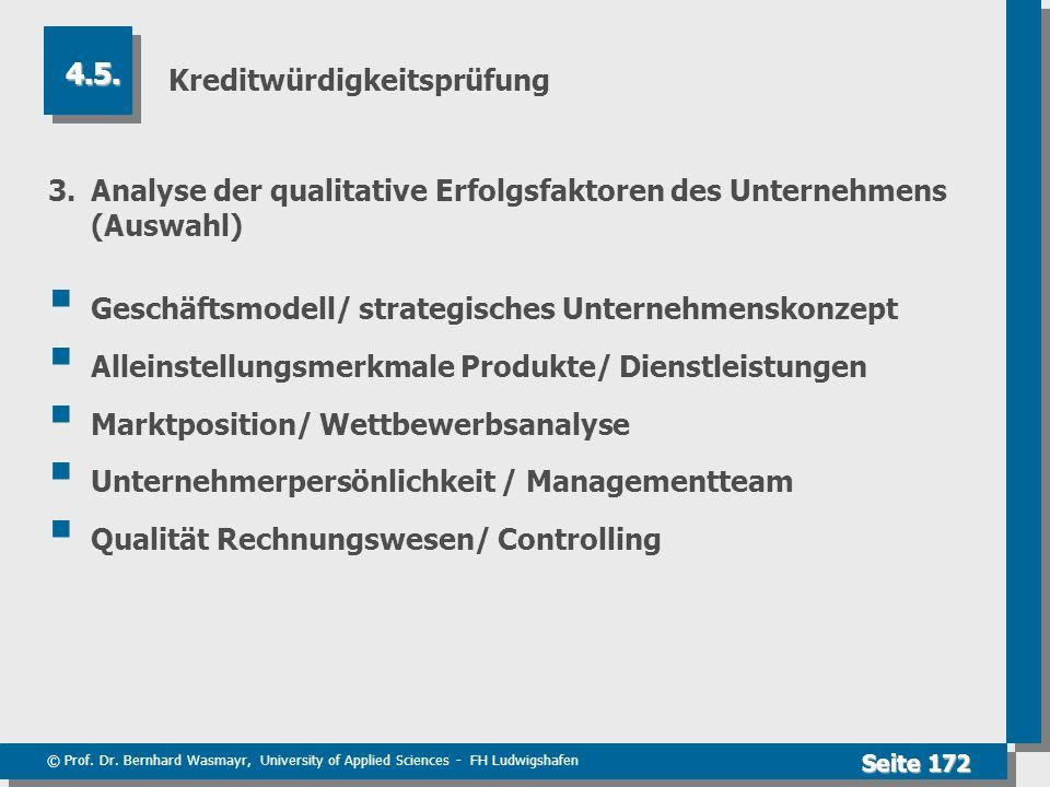 © Prof. Dr. Bernhard Wasmayr, University of Applied Sciences - FH Ludwigshafen Seite 172 Kreditwürdigkeitsprüfung 3. Analyse der qualitative Erfolgsfa