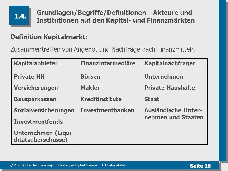 © Prof. Dr. Bernhard Wasmayr, University of Applied Sciences - FH Ludwigshafen Seite 18 Grundlagen/Begriffe/Definitionen – Akteure und Institutionen a