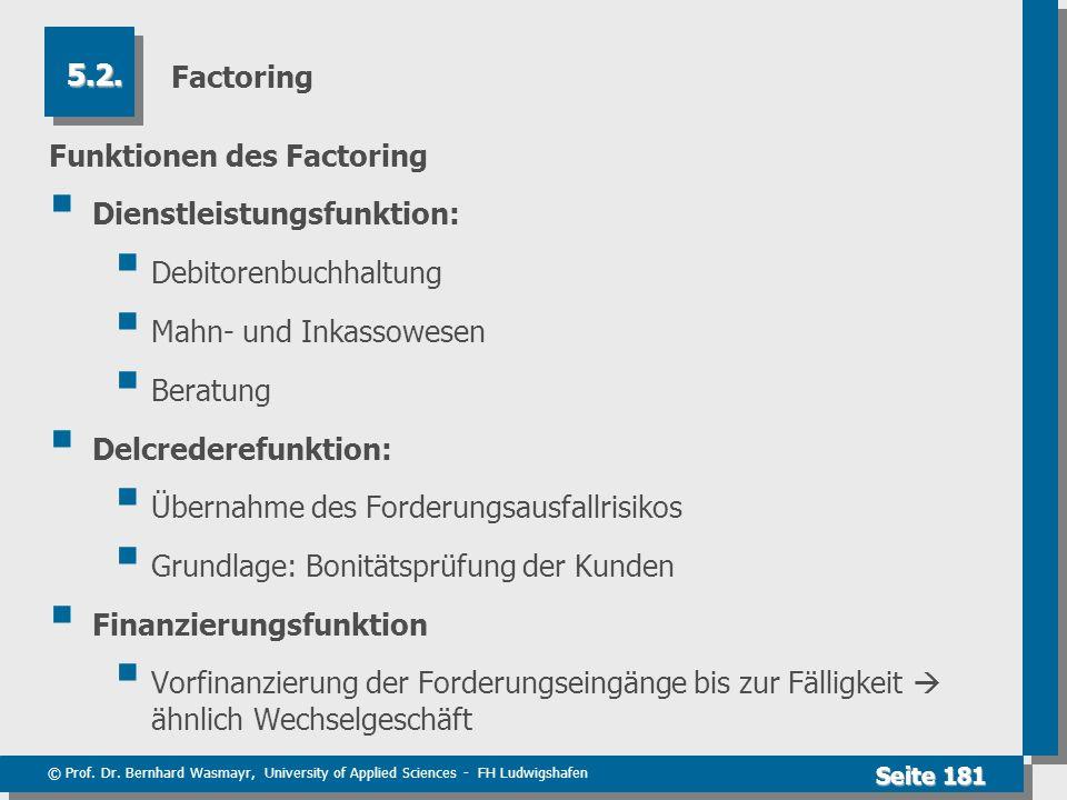 © Prof. Dr. Bernhard Wasmayr, University of Applied Sciences - FH Ludwigshafen Seite 181 Factoring Funktionen des Factoring Dienstleistungsfunktion: D