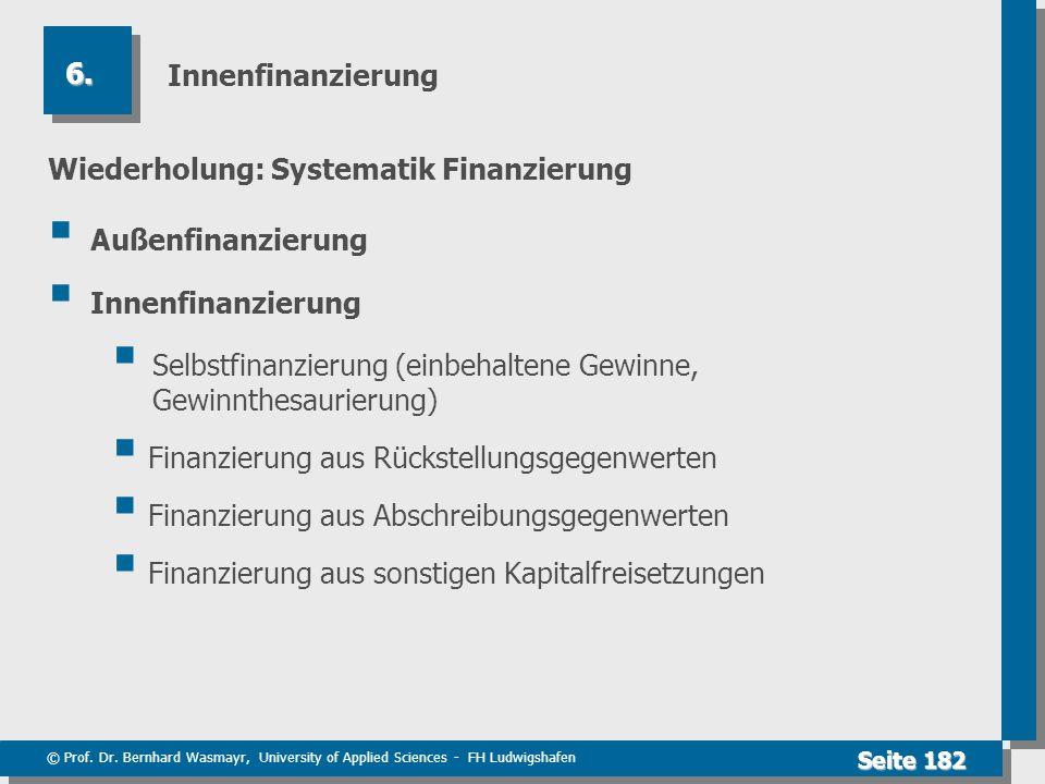 © Prof. Dr. Bernhard Wasmayr, University of Applied Sciences - FH Ludwigshafen Seite 182 Innenfinanzierung Wiederholung: Systematik Finanzierung Außen
