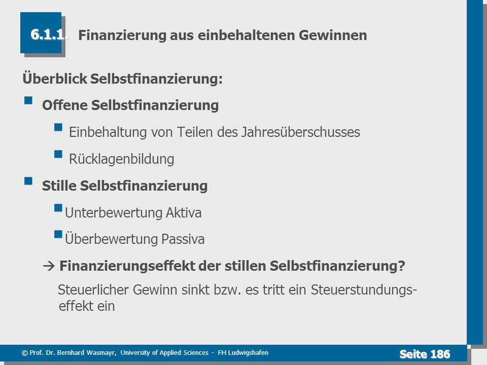 © Prof. Dr. Bernhard Wasmayr, University of Applied Sciences - FH Ludwigshafen Seite 186 Finanzierung aus einbehaltenen Gewinnen Überblick Selbstfinan