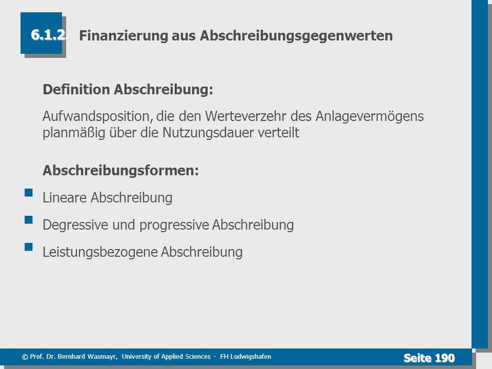 © Prof. Dr. Bernhard Wasmayr, University of Applied Sciences - FH Ludwigshafen Seite 190 Finanzierung aus Abschreibungsgegenwerten Definition Abschrei