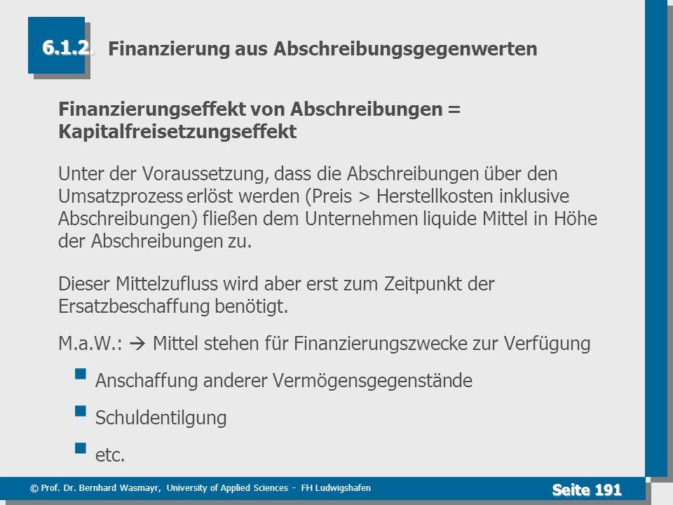 © Prof. Dr. Bernhard Wasmayr, University of Applied Sciences - FH Ludwigshafen Seite 191 Finanzierung aus Abschreibungsgegenwerten Finanzierungseffekt