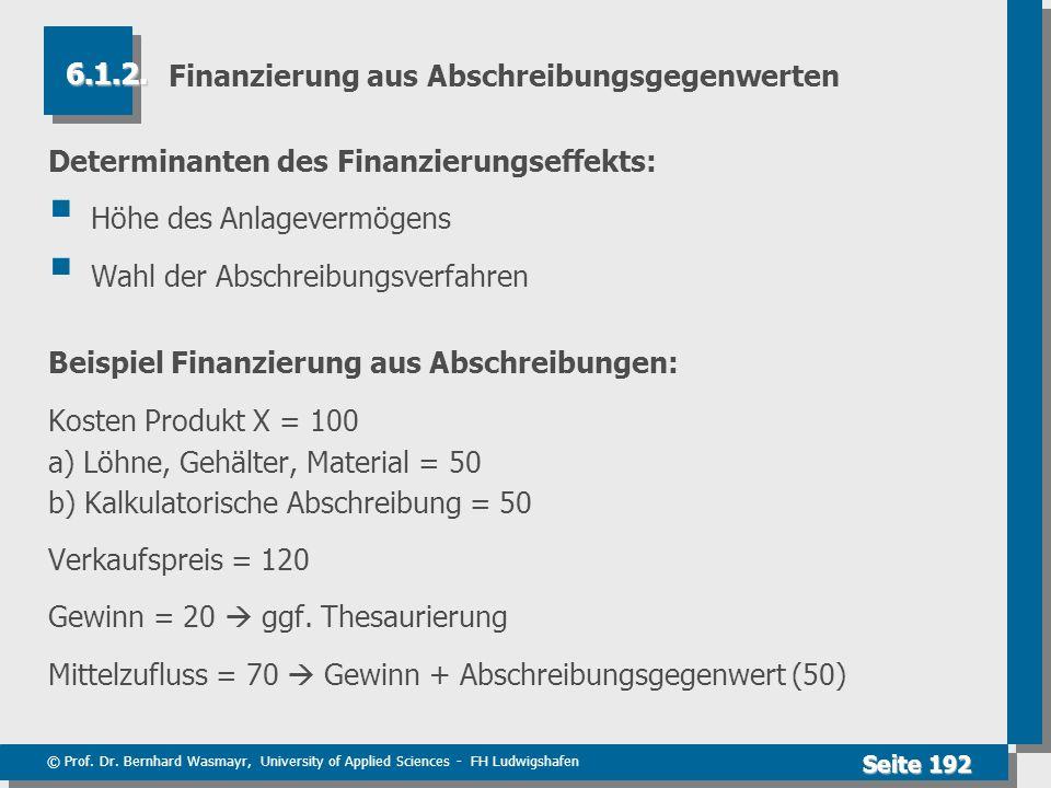 © Prof. Dr. Bernhard Wasmayr, University of Applied Sciences - FH Ludwigshafen Seite 192 Finanzierung aus Abschreibungsgegenwerten Determinanten des F