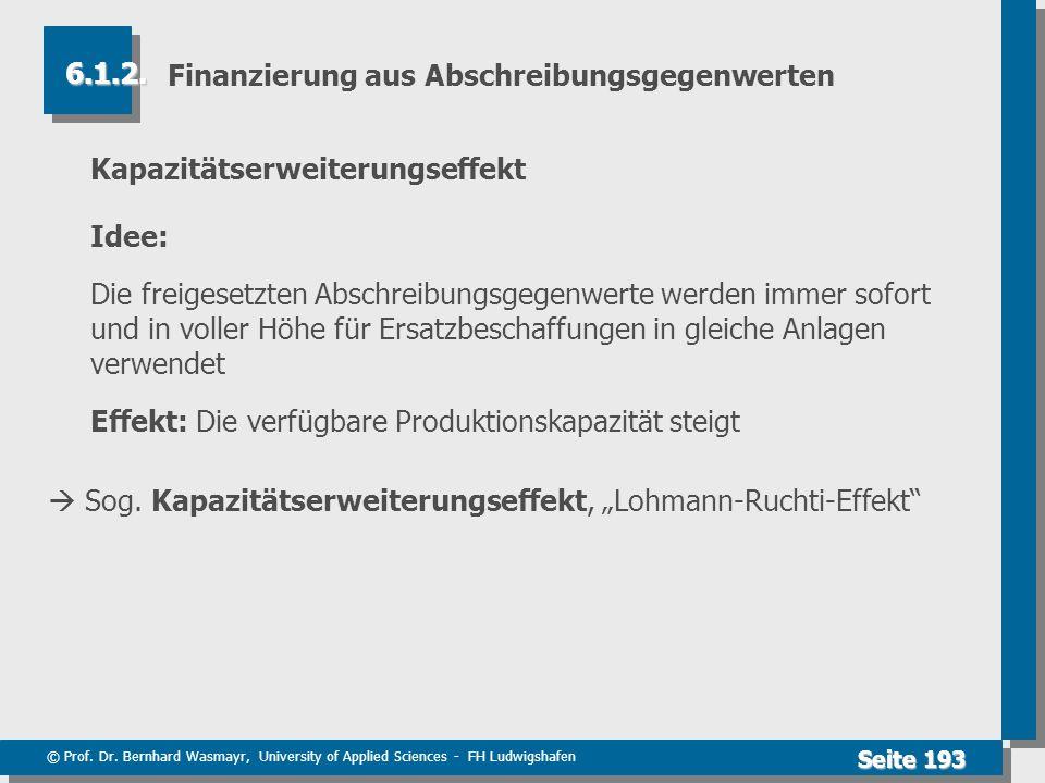 © Prof. Dr. Bernhard Wasmayr, University of Applied Sciences - FH Ludwigshafen Seite 193 Finanzierung aus Abschreibungsgegenwerten Kapazitätserweiteru