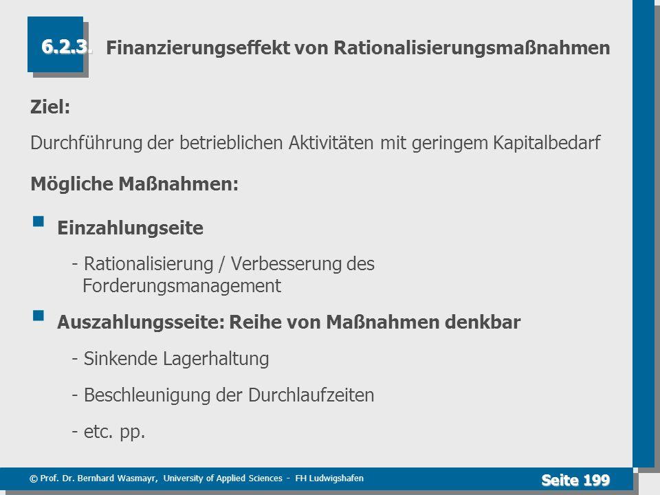© Prof. Dr. Bernhard Wasmayr, University of Applied Sciences - FH Ludwigshafen Seite 199 Finanzierungseffekt von Rationalisierungsmaßnahmen Ziel: Durc