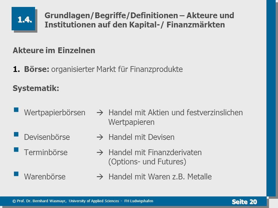 © Prof. Dr. Bernhard Wasmayr, University of Applied Sciences - FH Ludwigshafen Seite 20 Grundlagen/Begriffe/Definitionen – Akteure und Institutionen a