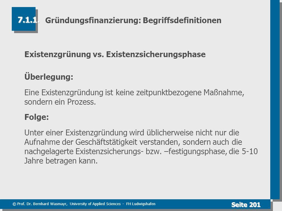 © Prof. Dr. Bernhard Wasmayr, University of Applied Sciences - FH Ludwigshafen Seite 201 Gründungsfinanzierung: Begriffsdefinitionen Existenzgrünung v