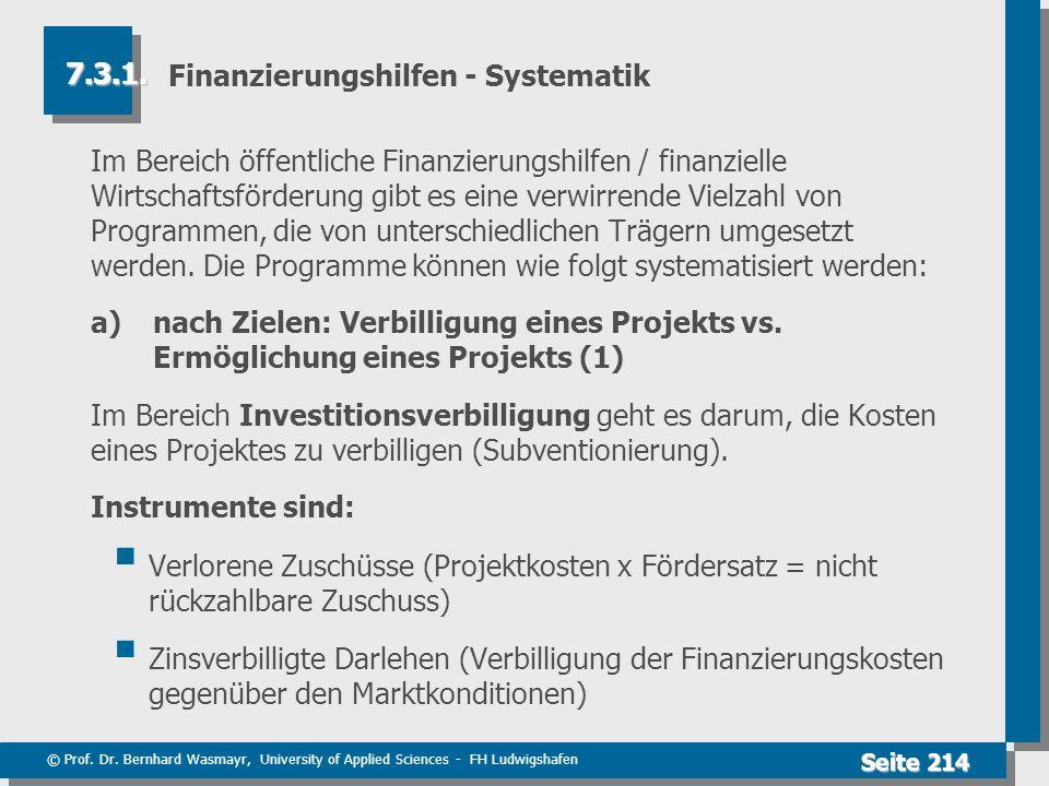 © Prof. Dr. Bernhard Wasmayr, University of Applied Sciences - FH Ludwigshafen Seite 214 Finanzierungshilfen - Systematik Im Bereich öffentliche Finan