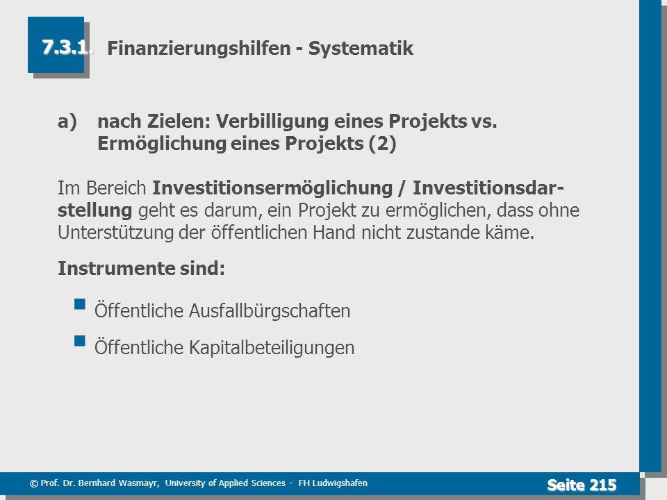 © Prof. Dr. Bernhard Wasmayr, University of Applied Sciences - FH Ludwigshafen Seite 215 Finanzierungshilfen - Systematik a) nach Zielen: Verbilligung