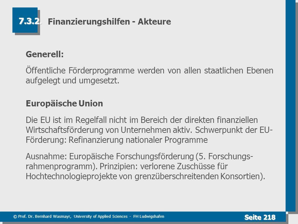 © Prof. Dr. Bernhard Wasmayr, University of Applied Sciences - FH Ludwigshafen Seite 218 Finanzierungshilfen - Akteure Generell: Öffentliche Förderpro