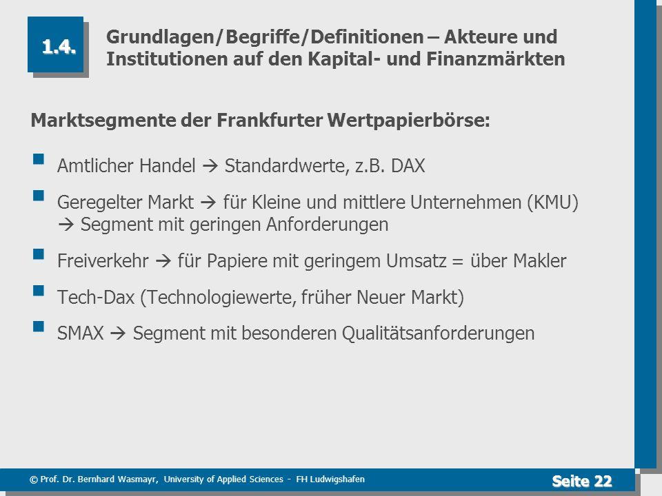 © Prof. Dr. Bernhard Wasmayr, University of Applied Sciences - FH Ludwigshafen Seite 22 Grundlagen/Begriffe/Definitionen – Akteure und Institutionen a