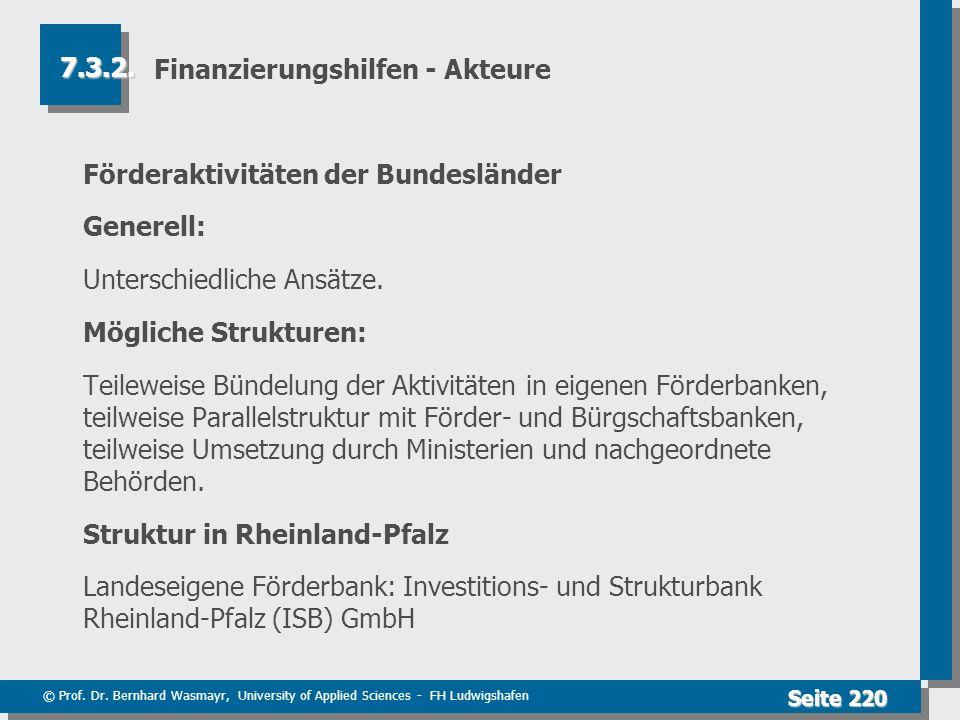 © Prof. Dr. Bernhard Wasmayr, University of Applied Sciences - FH Ludwigshafen Seite 220 Finanzierungshilfen - Akteure Förderaktivitäten der Bundeslän