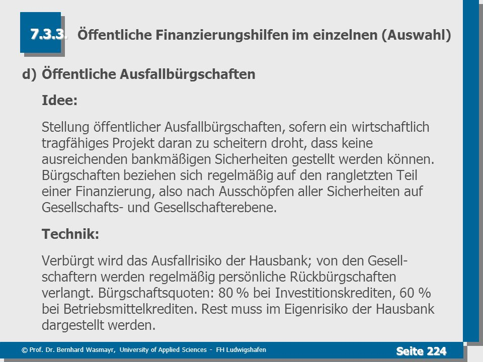 © Prof. Dr. Bernhard Wasmayr, University of Applied Sciences - FH Ludwigshafen Seite 224 Öffentliche Finanzierungshilfen im einzelnen (Auswahl) d) Öff