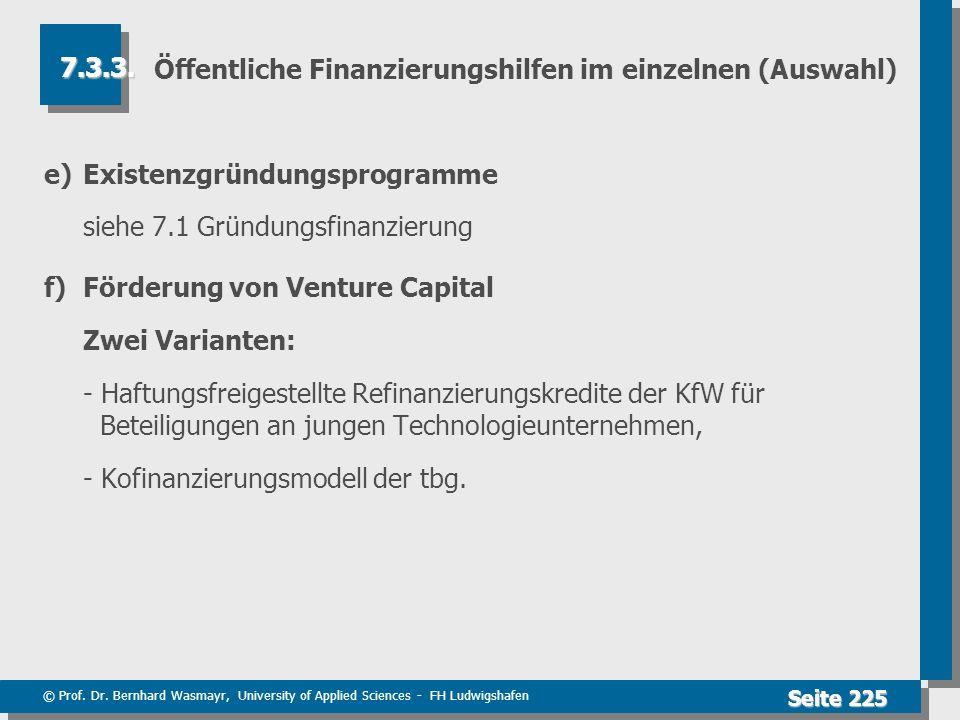 © Prof. Dr. Bernhard Wasmayr, University of Applied Sciences - FH Ludwigshafen Seite 225 Öffentliche Finanzierungshilfen im einzelnen (Auswahl) e)Exis
