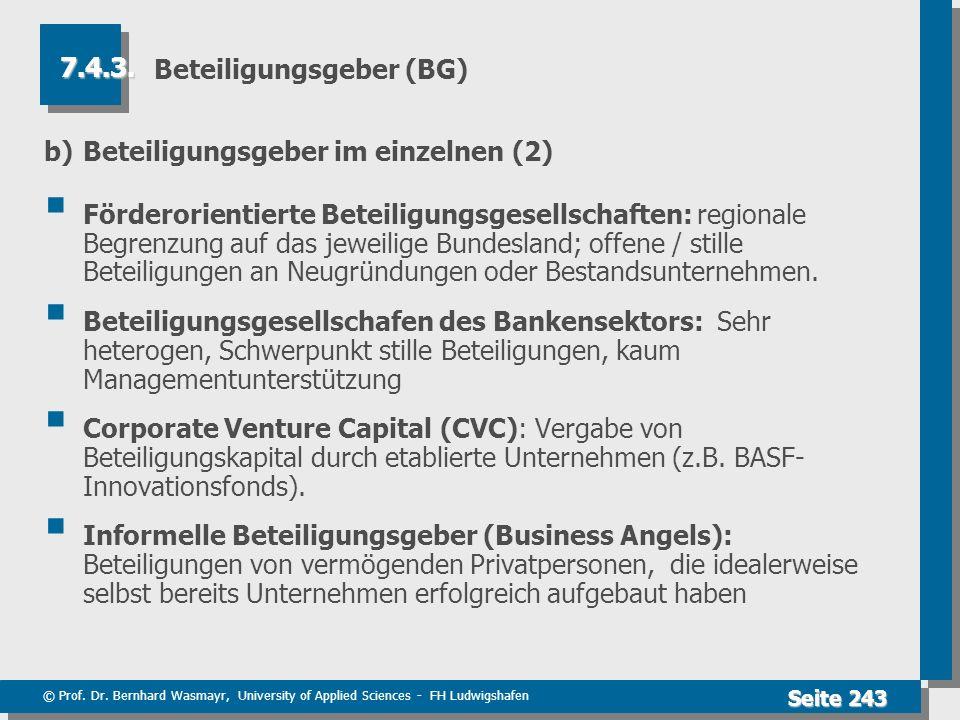 © Prof. Dr. Bernhard Wasmayr, University of Applied Sciences - FH Ludwigshafen Seite 243 Beteiligungsgeber (BG) b)Beteiligungsgeber im einzelnen (2) F