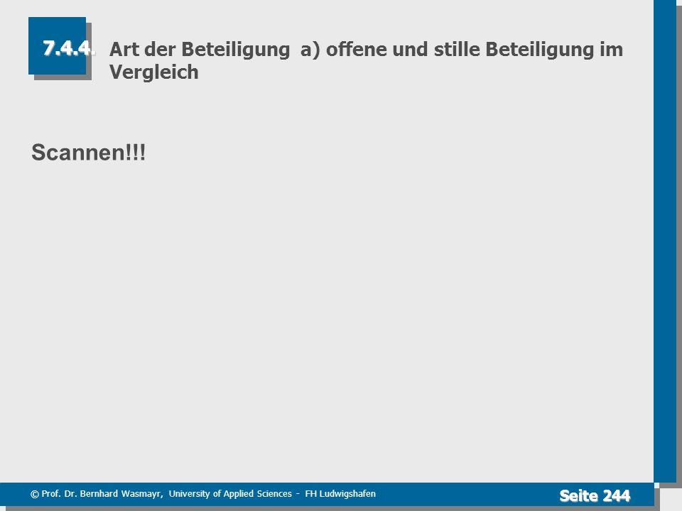 © Prof. Dr. Bernhard Wasmayr, University of Applied Sciences - FH Ludwigshafen Seite 244 Art der Beteiligung a) offene und stille Beteiligung im Vergl