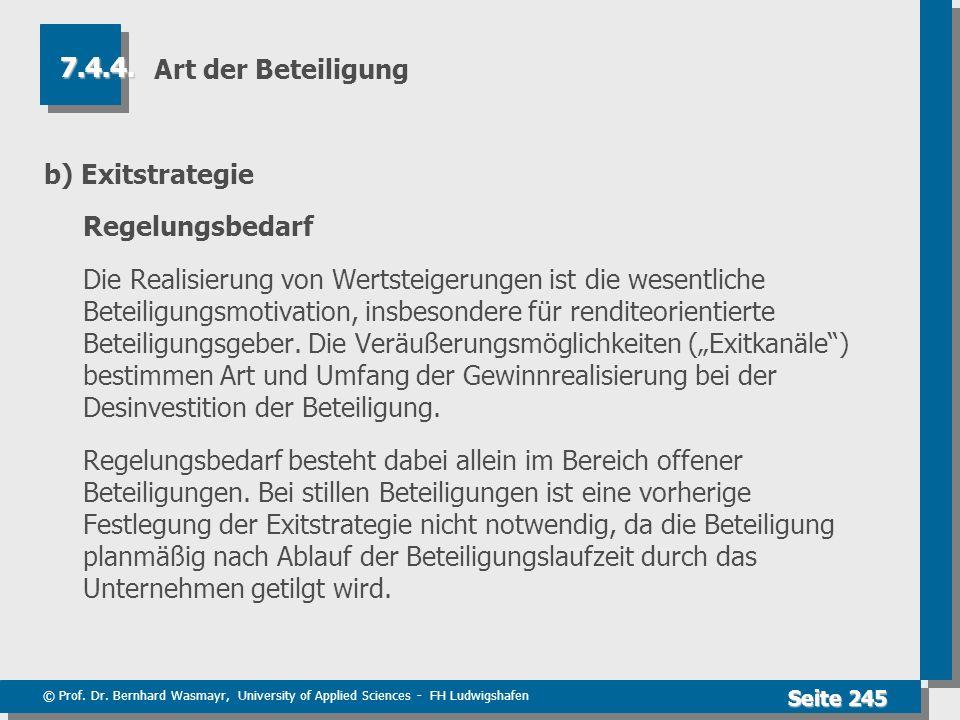 © Prof. Dr. Bernhard Wasmayr, University of Applied Sciences - FH Ludwigshafen Seite 245 Art der Beteiligung b) Exitstrategie Regelungsbedarf Die Real