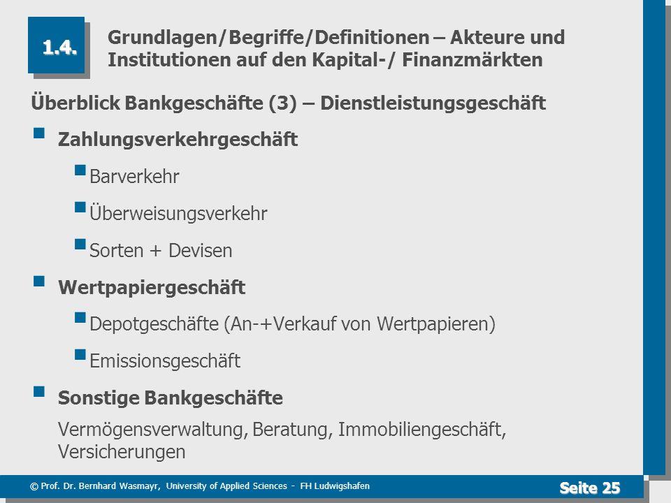 © Prof. Dr. Bernhard Wasmayr, University of Applied Sciences - FH Ludwigshafen Seite 25 Grundlagen/Begriffe/Definitionen – Akteure und Institutionen a