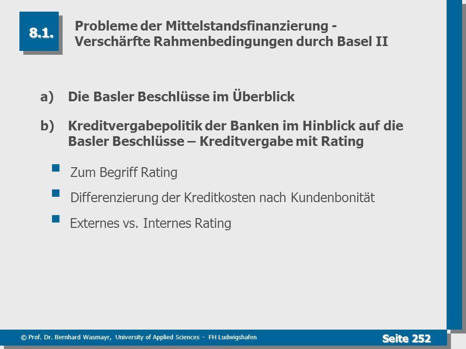 © Prof. Dr. Bernhard Wasmayr, University of Applied Sciences - FH Ludwigshafen Seite 252 Probleme der Mittelstandsfinanzierung - Verschärfte Rahmenbed