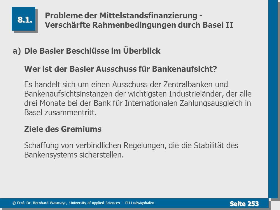 © Prof. Dr. Bernhard Wasmayr, University of Applied Sciences - FH Ludwigshafen Seite 253 Probleme der Mittelstandsfinanzierung - Verschärfte Rahmenbed