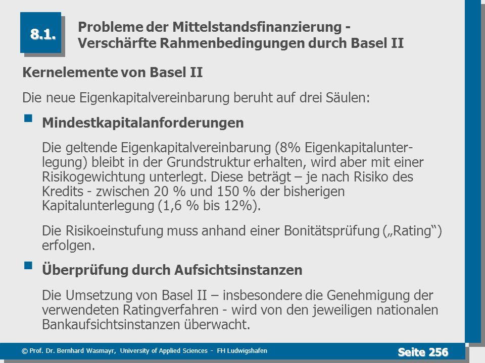 © Prof. Dr. Bernhard Wasmayr, University of Applied Sciences - FH Ludwigshafen Seite 256 Probleme der Mittelstandsfinanzierung - Verschärfte Rahmenbed