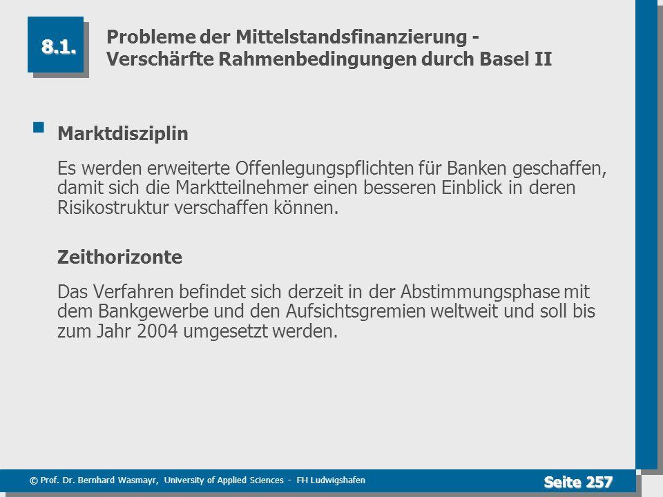 © Prof. Dr. Bernhard Wasmayr, University of Applied Sciences - FH Ludwigshafen Seite 257 Probleme der Mittelstandsfinanzierung - Verschärfte Rahmenbed