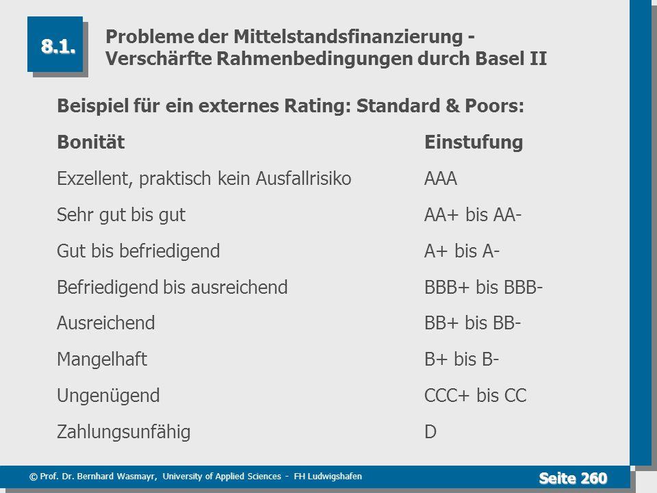 © Prof. Dr. Bernhard Wasmayr, University of Applied Sciences - FH Ludwigshafen Seite 260 Probleme der Mittelstandsfinanzierung - Verschärfte Rahmenbed