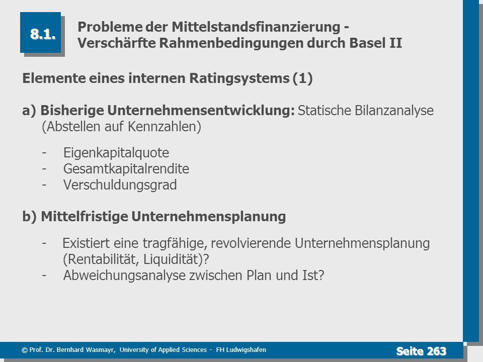 © Prof. Dr. Bernhard Wasmayr, University of Applied Sciences - FH Ludwigshafen Seite 263 Probleme der Mittelstandsfinanzierung - Verschärfte Rahmenbed