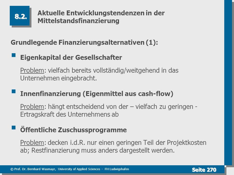 © Prof. Dr. Bernhard Wasmayr, University of Applied Sciences - FH Ludwigshafen Seite 270 Aktuelle Entwicklungstendenzen in der Mittelstandsfinanzierun