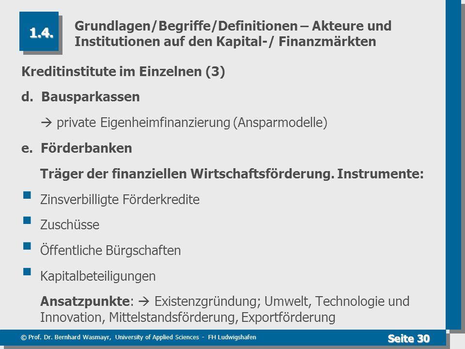 © Prof. Dr. Bernhard Wasmayr, University of Applied Sciences - FH Ludwigshafen Seite 30 Grundlagen/Begriffe/Definitionen – Akteure und Institutionen a