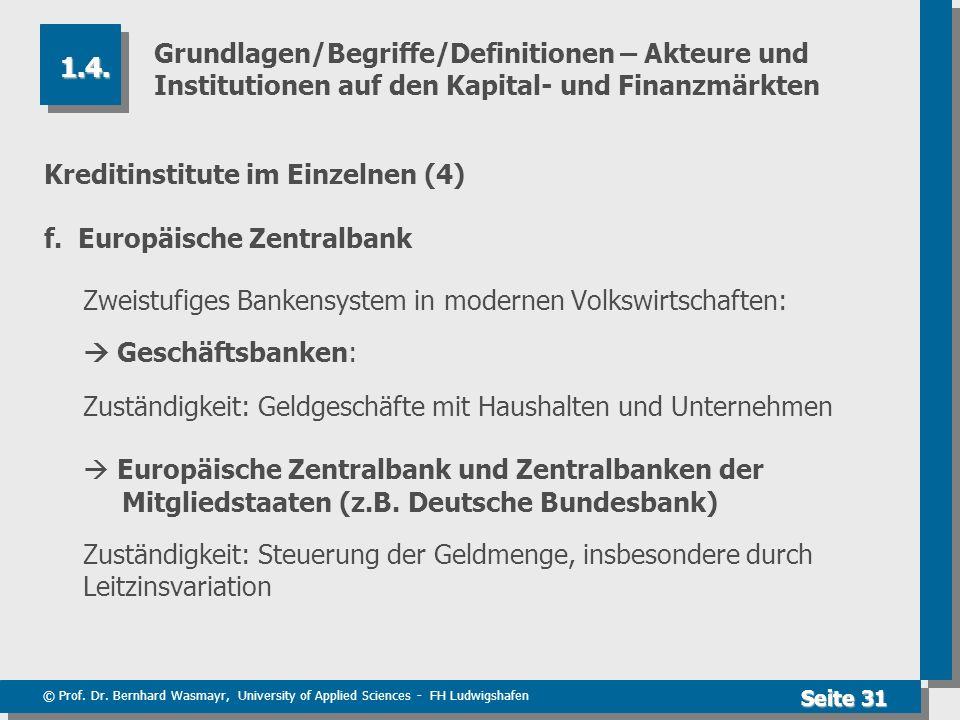 © Prof. Dr. Bernhard Wasmayr, University of Applied Sciences - FH Ludwigshafen Seite 31 Grundlagen/Begriffe/Definitionen – Akteure und Institutionen a