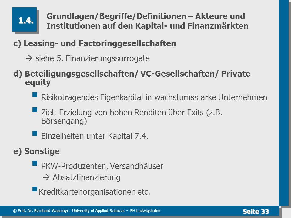 © Prof. Dr. Bernhard Wasmayr, University of Applied Sciences - FH Ludwigshafen Seite 33 Grundlagen/Begriffe/Definitionen – Akteure und Institutionen a