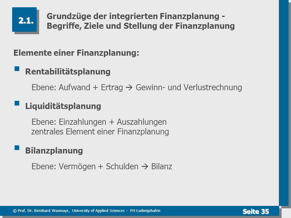 © Prof. Dr. Bernhard Wasmayr, University of Applied Sciences - FH Ludwigshafen Seite 35 Grundzüge der integrierten Finanzplanung - Begriffe, Ziele und